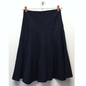 Ann Taylor | Mid Length Navy Skirt Chevron Pattern